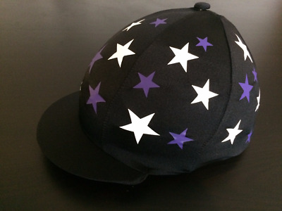 GGGear Cross Country Hat Silk, Black with purple white scattered stars