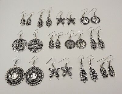 12 Pcs. Lot Alluring 925 Silver Plated Deluxe Antique Earring KA9093