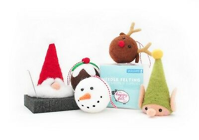 Christmas Needle Felting Kit | Snowman, Reindeer, Xmas Pudding, Santa or Elf