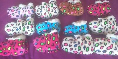 Bnwt Wholesale Job Lot 12 X Infant Fur Lined One Size Spotted Bootie Slippers