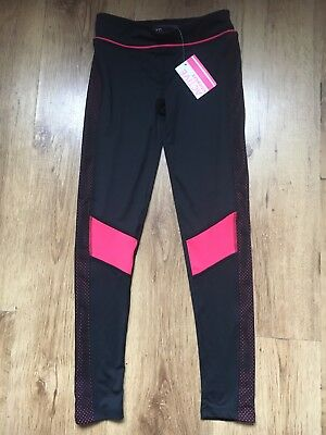 Girls BNWT Black And Pink Sports Primark Leggings Age 10-11 Years
