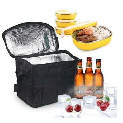 1pc Oxford Cloth Insulated Travel Ice Box Cooler Lunch Bag Outdoor Camping LG