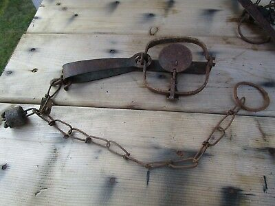 Vintage Oneida Trap with Lead weight and copper 1935-1936 Wis. trap tag!!
