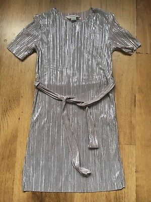 Girls River Island Silver Crinkle Party Dress Age 5-6 Years