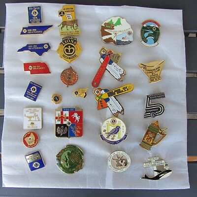 Assortment of 25 Lions Brooches & Lapel Pins (1979-1996)