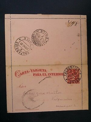 SCARCE 1895 Chile Lettercard ties 2c red Columbus stamp canc Valparaiso