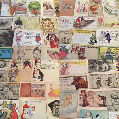 BIG LOT OF OLD ANTIQUE COMIC HUMOR funny ~POSTCARDS-1900's-j-31