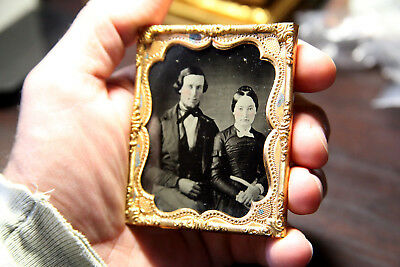 Ambrotype sixth plate couple no case good contrast and tint