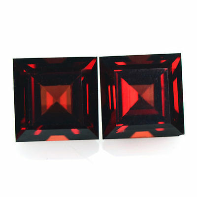 4.54 cts Natural Dazzling Pyrope Red Garnet Gems Square Cut Pair Mozambique 7mm