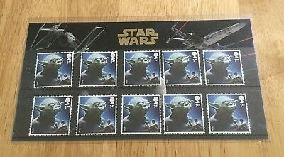 Gb 2015 Star Wars Collectors Pack 10 Yoda Stamps.