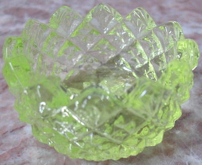 Salt Cellar Dip - English Hobnail Pattern - Vaseline Glass - USA