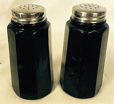 Salt & Pepper Shaker Set - Paneled - Black Glass - Mosser USA