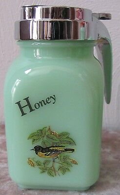 Honey Dispenser - Jade Jadite Jadeite Green Glass - Yellow Finch Bird - USA