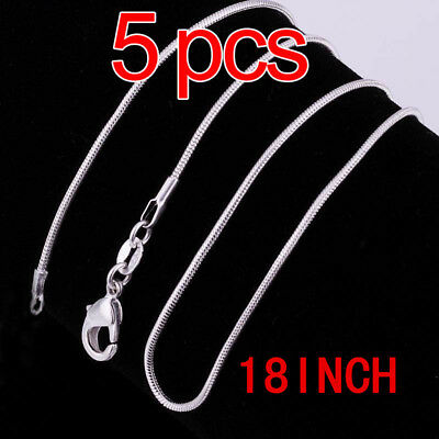"Wholesale 5Pcs 1Mm Solid 925Sterling Silver Jewelry Snake Chain 18""necklace+Box"
