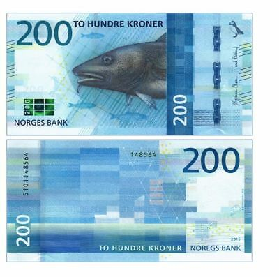 Norway 200 Kroner 2016/2017 P New Unc