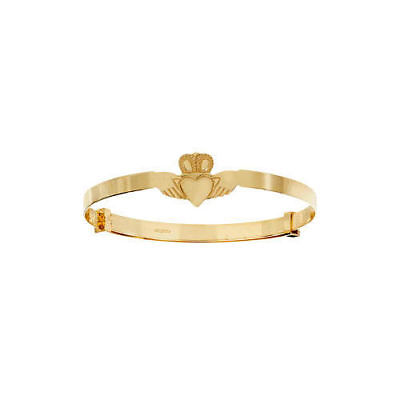 New 9ct Yellow Gold Baby/Child Expanding Claddagh Bangle 1.9 grams