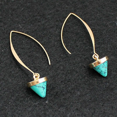 Earrings 9ct Gold Filled Turquoise Hook Drop Mother Gift Xmas Weddings Xmas