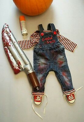 Chucky Childs Play Horror Complete Baby Boys Costume 9-12 Mth Months Halloween