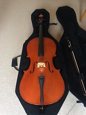cello 4/4 solid wood with case and quality strings