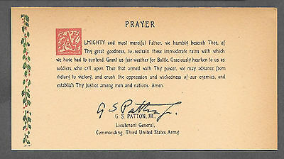 George S Patton Signature & Weather Prayer Reprint Original Period Paper *079