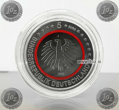 GERMANY 5 EURO 2017 J (TROPICAL ZONE - RED POLYMER RING) Commemor. Coin * PROOF