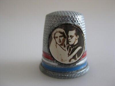Aluminium Metal Thimble with a Royal Photo Portrait  Red White and Blue