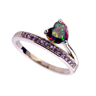 Ring Stamped Silver Rainbow Topaz & Amethyst Heart size U Summer Gift Christmas