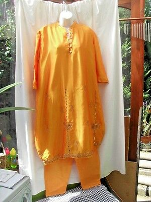 Indian Style Dress & Trousers Suit Orange Freesize Gold Sequin & Embroidery