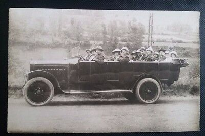 Nice Vintage Real Photo Postcard of Charabanc Outing 1924