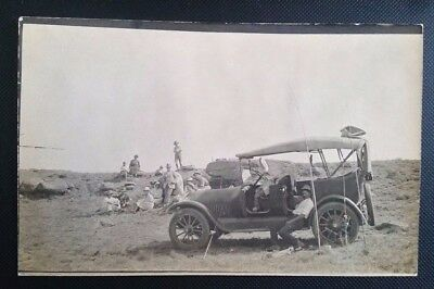 Nice Vintage Real Photo Postcard of Man & His Car Trout Fishing!