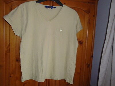 Muted yellow cap sleeve t-shirt, THE SWEATER SHOP, size L, UK 16, 1980s vintage