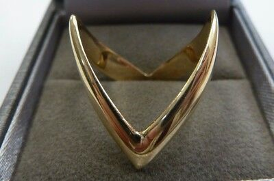 New 9ct Solid Gold Double Wishbone Ring Size Q