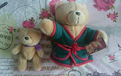 """Two FOREVER FRIENDS BEARS 10"""" with Green Dressing Gown 7"""" with Bow bought 1996!"""