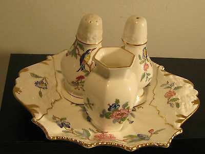 Aynsley Pembroke Bone China  Salt & Pepper Shakers & Toothpick Holder & Tray
