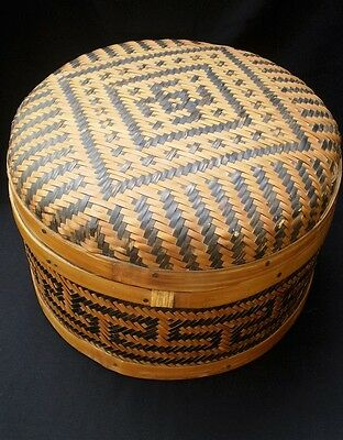 Early Dynasty Chinese Bamboo Woven Basket-People's Republic of China-1900's