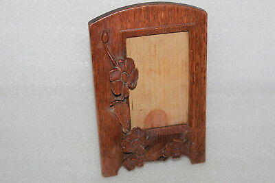 Vintage Trench Art / Folk Art Carved Oak Picture Frame  Carved Flowers Design