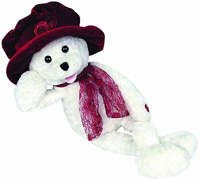 "Chantilly Lane ""Ashley"" White Bear with Burgundy Hat Sings ""I Will"" Plush, 19"""