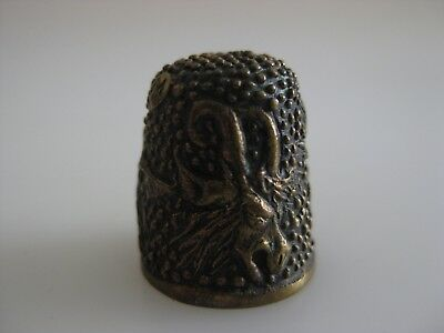 Heavy BRONZE Thimble MYTHICAL CREATURES marked M
