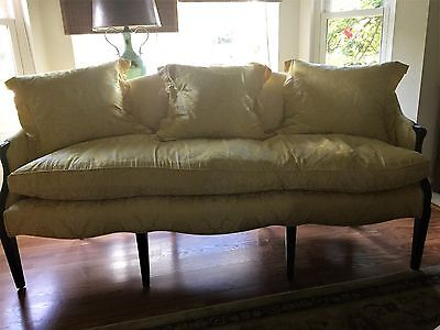 Yellow - White Damask Chippendale Style Couch-Down Filll- In Excellent Condition