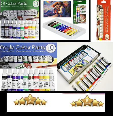 10 x 6 ml Tubes Pack Of Oil Acrylic Water Colour Paints Set Art Crafts Artist **