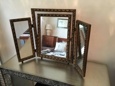 Antique Triple Dressing Table Vanity Mirror .