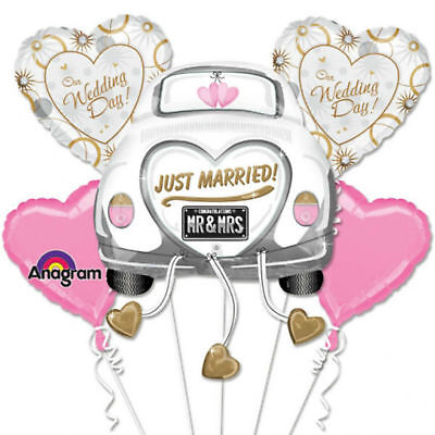 Just Married Car & Hearts Foil Balloon Bouquet - Wedding Party Decoration