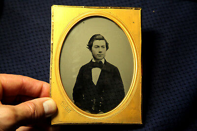 Ambrotype half plate of a distinguished young man double reverse view no case