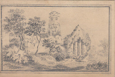 Antique small pencil sketch of Lislaghton ( Lislaughtin ) Priory Ireland