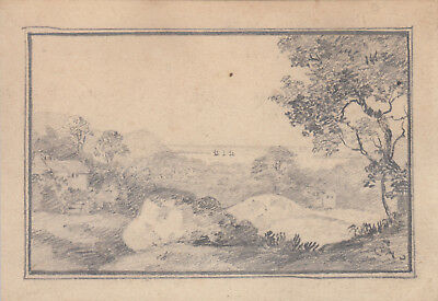 Antique small pencil sketch of Bristol channel from Henbury
