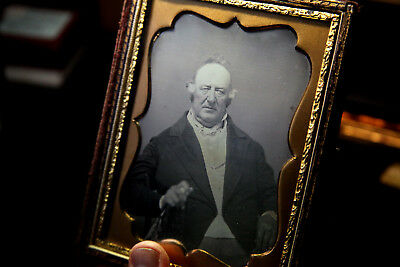 Daguerreotype 1/2 plate gentleman hand on a cain?  lite from above. 1/2 case