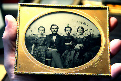 Ambrotype half plate of family by Burrows no case