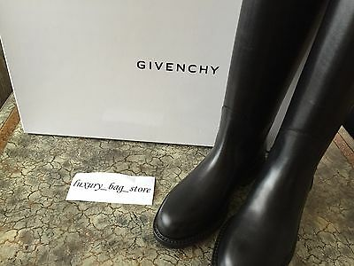 Givenchy Iconic Black Shark Tooth Lock Sexy Tall Riding Boots 36.5 6.5 Brand New