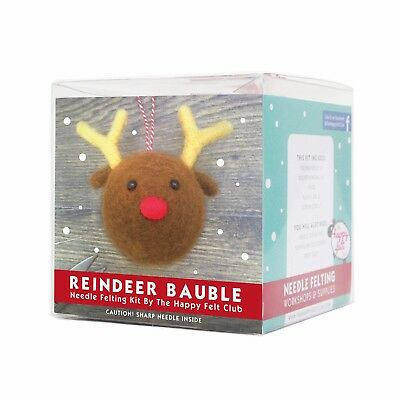 Reindeer Christmas Bauble Needle Felting Kit | The Happy Felt Club