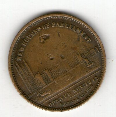 New Houses Of Parliament 1847 Farthing Size Token By Hyams